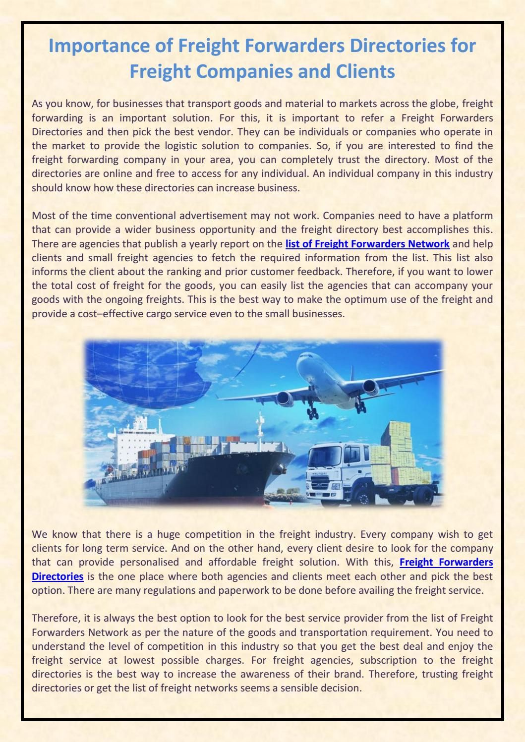 Importance of freight forwarders directories for freight companies