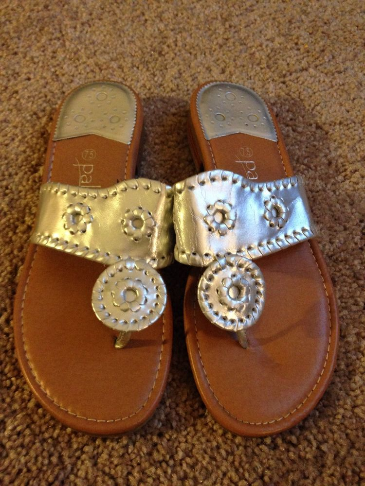2fc8722ab1ed Palms Sandals Slip On Thong Flip Flop Silver Flat Jack Rogers Inspired Size  7.5