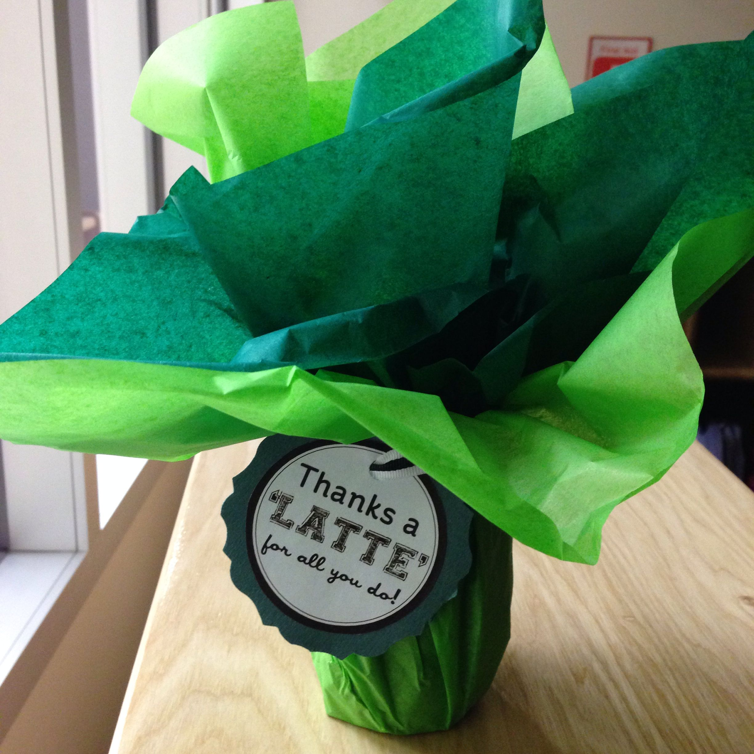 """""""Thanks a 'latte' for all you do!""""   A quick and easy way to say thank you to those that volunteer. I used this to give my student's parents as a thank you gift."""