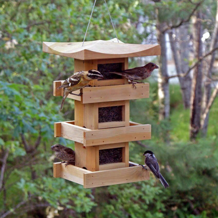 Pagoda bird feeder with multi levels unique bird feeders for Easy birdhouse ideas