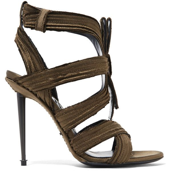 Tom Ford Pleated satin sandals ($1,845) ❤ liked on Polyvore featuring shoes, sandals, green, wrap shoes, army green shoes, strappy sandals, black shoes and strap shoes