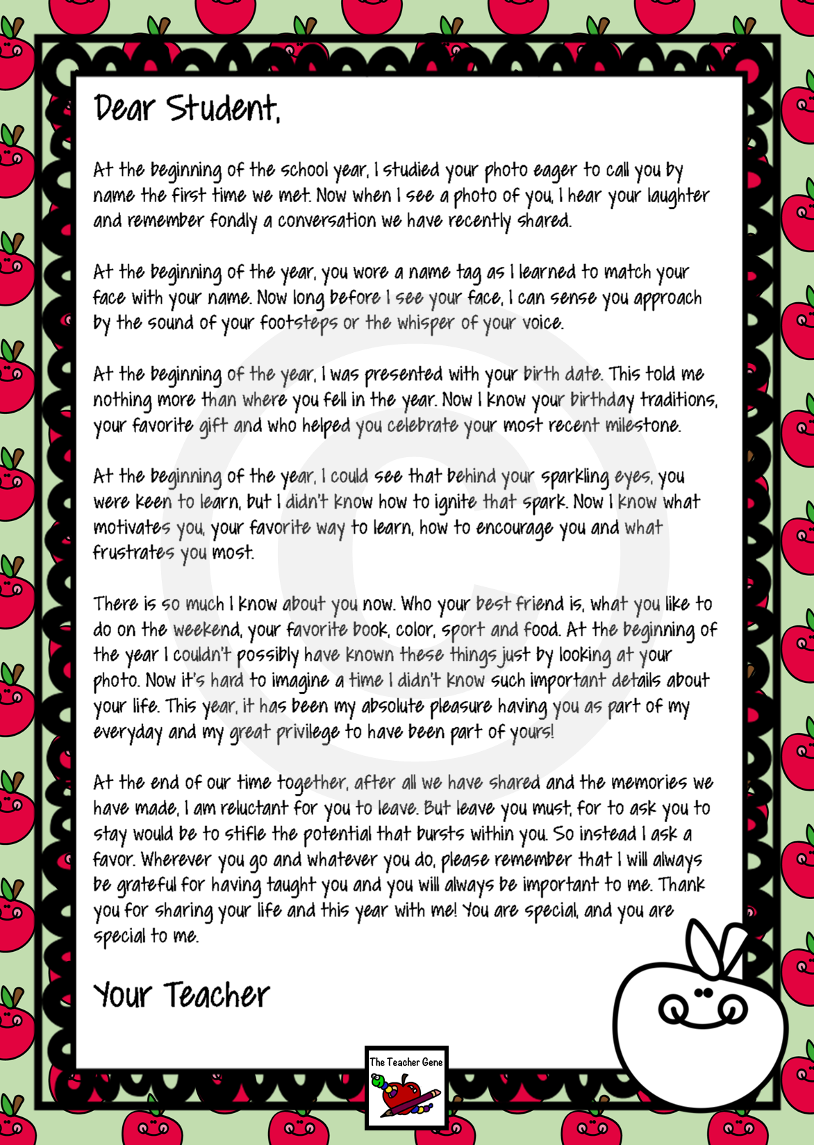personalized end of year letter to student from teacher such a lovely letter with one paragraph switched out to create 16 extra versions for that