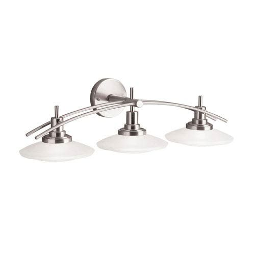 Photo of Kichler 6463NI three-light bathroom fitting made of brushed nickel – brushed, contemporary and modern   Bellacor