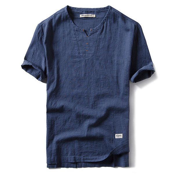 Generic Mens Summer V Neck Short Sleeve Solid Chinese Style Cotton Linen T-Shirt