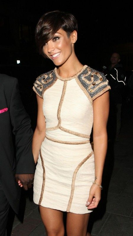 Frankie Sandford wearing a edgy chic embellished mini.