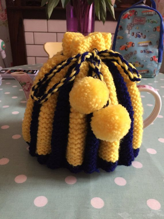 Beautiful hand knitted tea cosy. Yellow and Navy blue  Complete one off