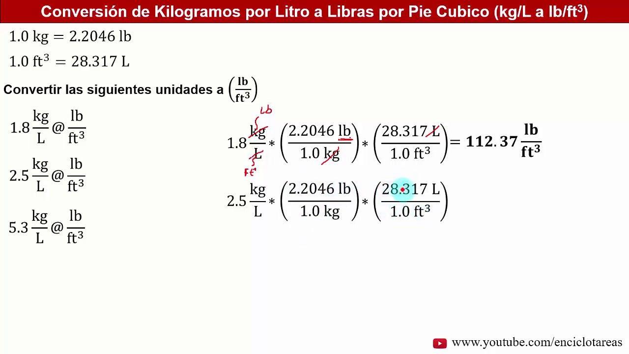 Unidades De Densidad Kilogramos Por Litro Kg L A Libras Por Pie Caºbico Lb Ft3 Recopilacia N Youtube Ejercicios Resueltos Libra Densidad