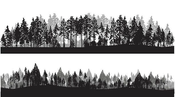 A Vector Silhouette Illustration Of Two Lines Of Trees Including A