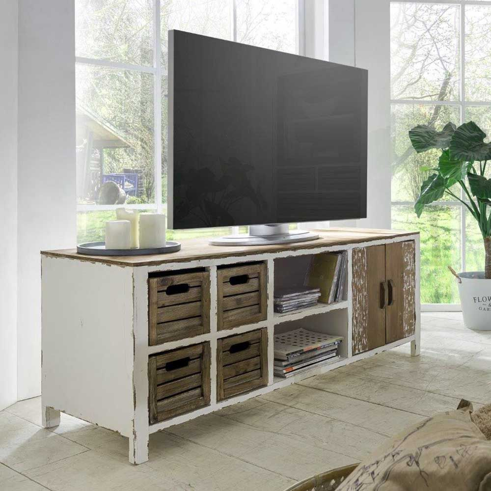 shabby chic tv lowboard in wei tanne massivholz jetzt bestellen unter https moebel. Black Bedroom Furniture Sets. Home Design Ideas