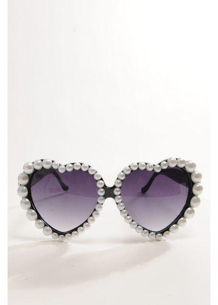 a51c4711c698 SUNGLASSES - Pearl Embellished Lolita Black  goth  summer  sunglasses   heart  pearl