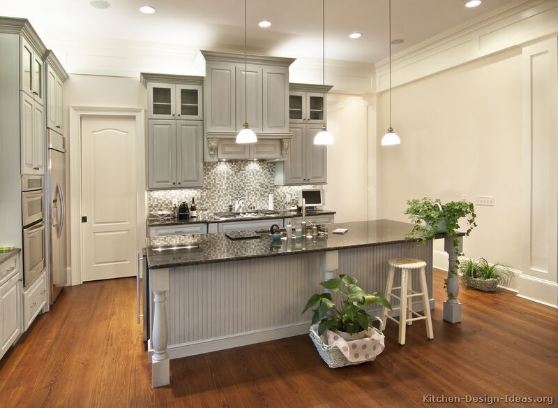 The Gray Is So Fresh And A Nice Change Of Pace From Expected Painted White Grey Kitchen Cabinetskitchen
