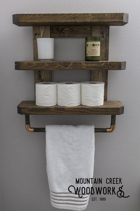 Wooden Bathroom Shelf, Rustic Bathroom Shelf, Wooden Towel Rack ...