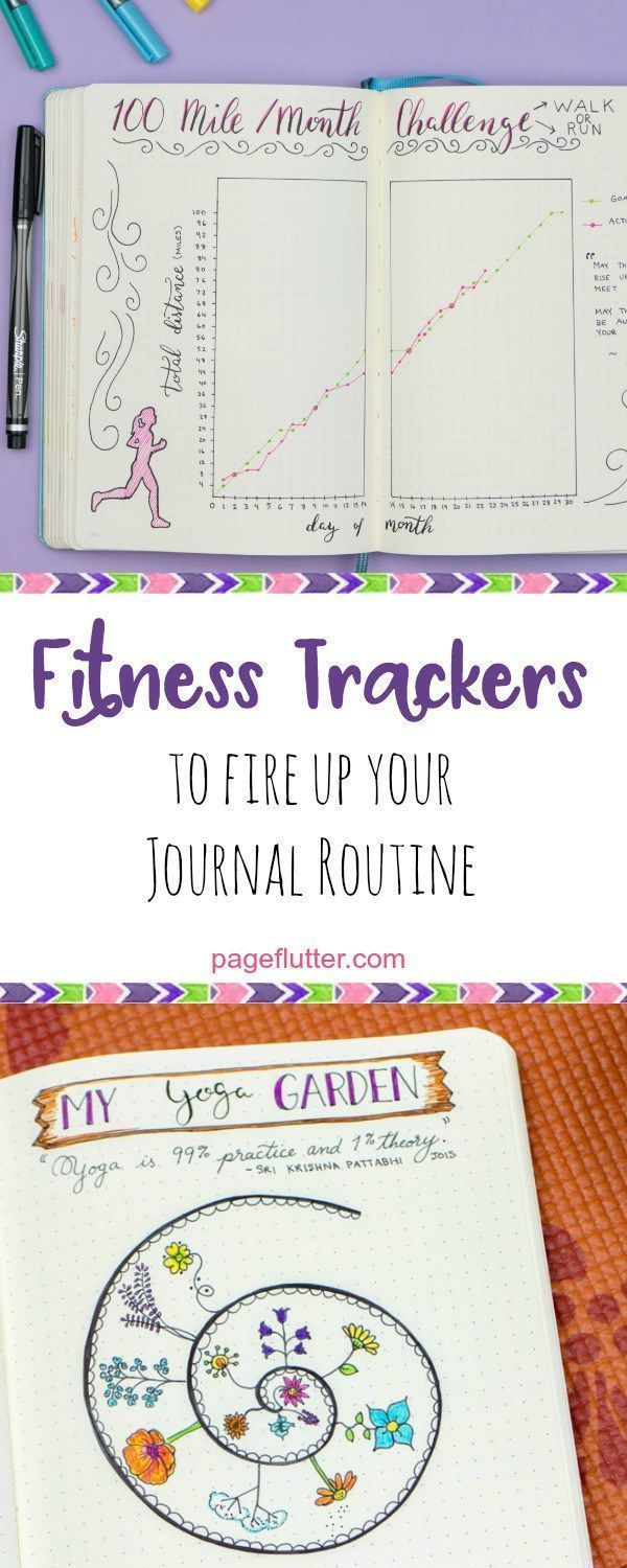journal fitness trackers for weight loss, running, yoga, and other fitness goals. #fitness goals bul...