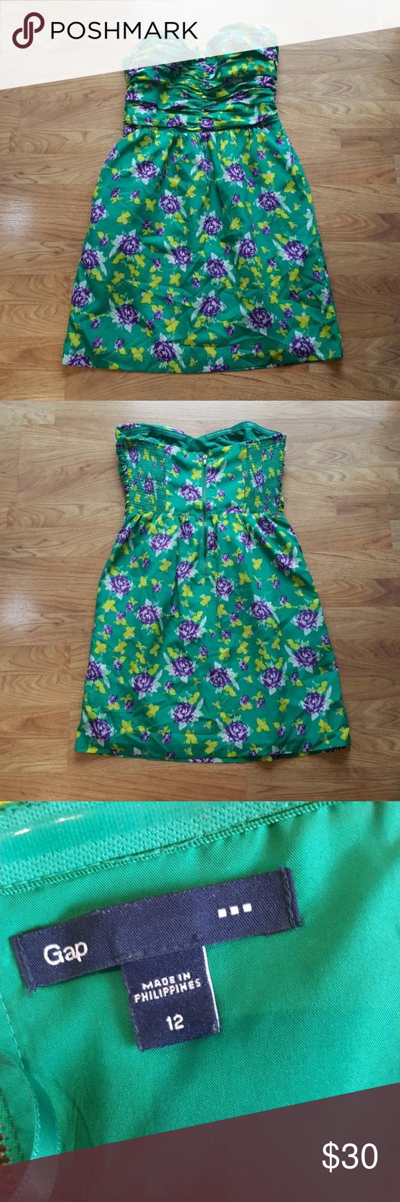 Gap Green Flowery Strapless Summer Dress Sz 12 Strapless Summer Dress Summer Dresses Clothes Design [ 1740 x 580 Pixel ]