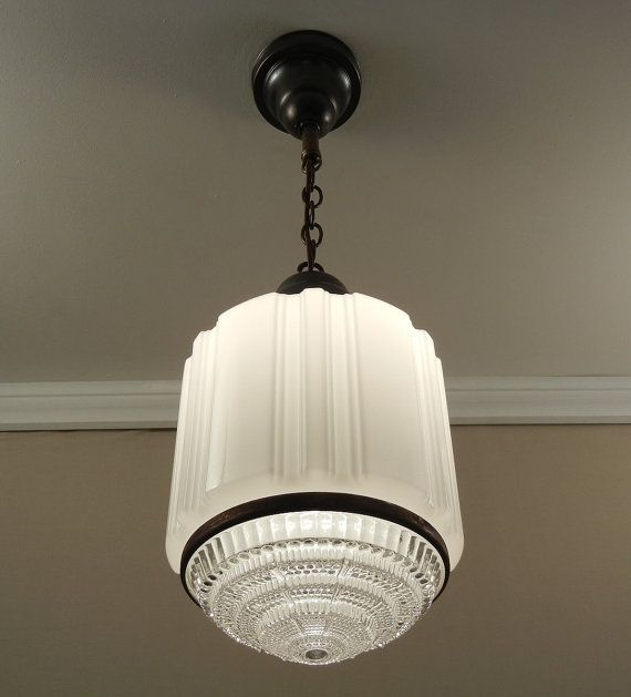 Antique Art Deco Pendant Light Vintage 1930 S Large