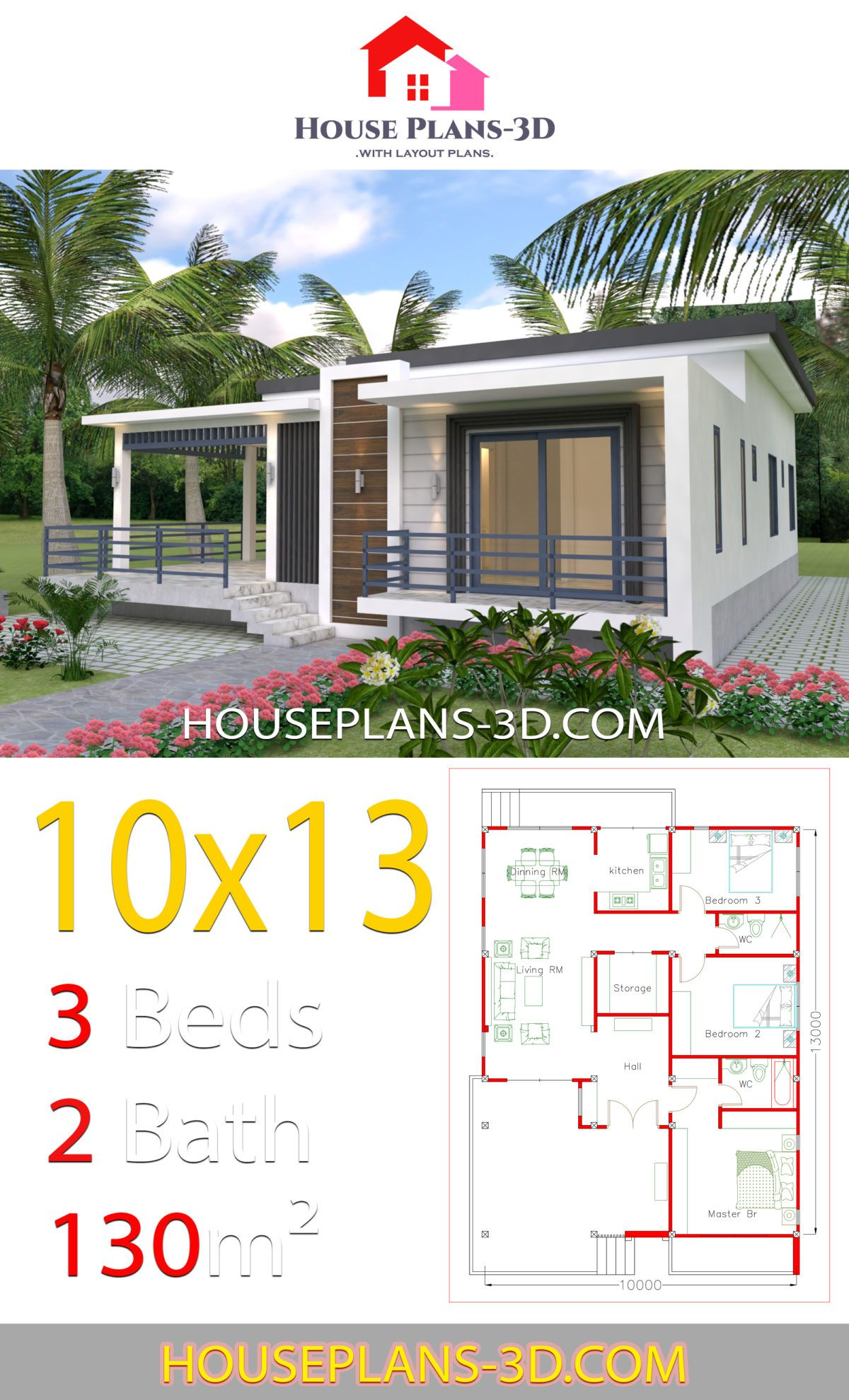 House Design 10x13 With 3 Bedrooms Terrace Roof House Plans 3d Small House Design Plans House Layout Plans House Plans