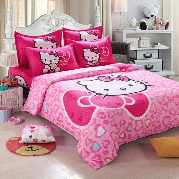 home textiles children cartoon hello kitty kids bedding set include duvet cover bed sheet pillowcase