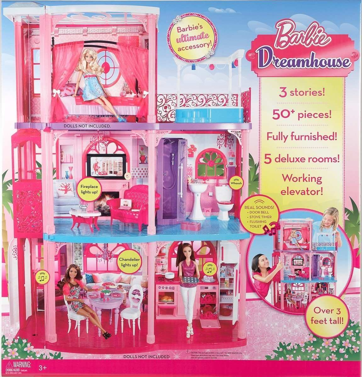 Barbie deluxe furniture stovetop to tabletop kitchen doll target - Casa Barbie De Los Sue Os Fisher Price 3 Niveles Barbie