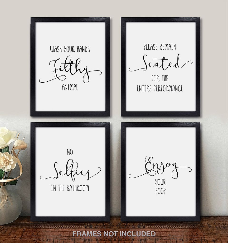Athroom Decor Quotes And Sayings Wall Art Photos Set Of 4 White Metallic Pearl 8x10 Prints Unframed Funny Decorative Signs Funny Wall Art Funny Bathroom Decor Photo Wall Art
