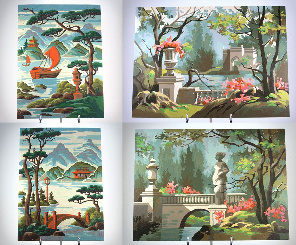Lot of 4 Larger Vintage Paint by Numbers PBN, Asian & Roman Scenes ...