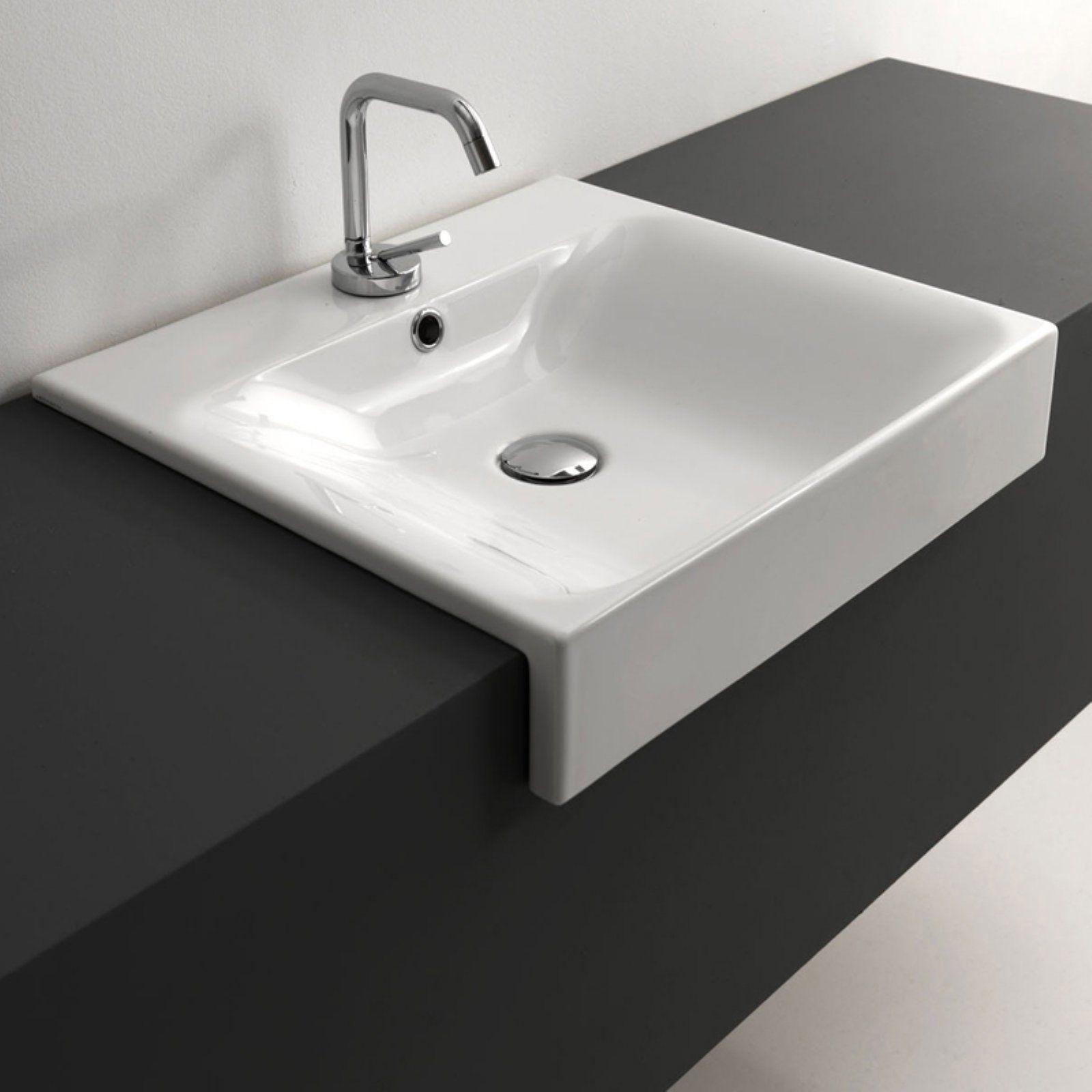 Ws Bath Collections Cento 3546 Semi Recessed Bathroom Sink Bathroom Sink Design Bathroom Sink