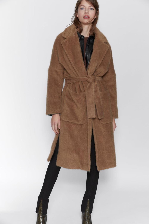 Klasyczny płaszcz wełniany damski camel toffi Zara Łódź