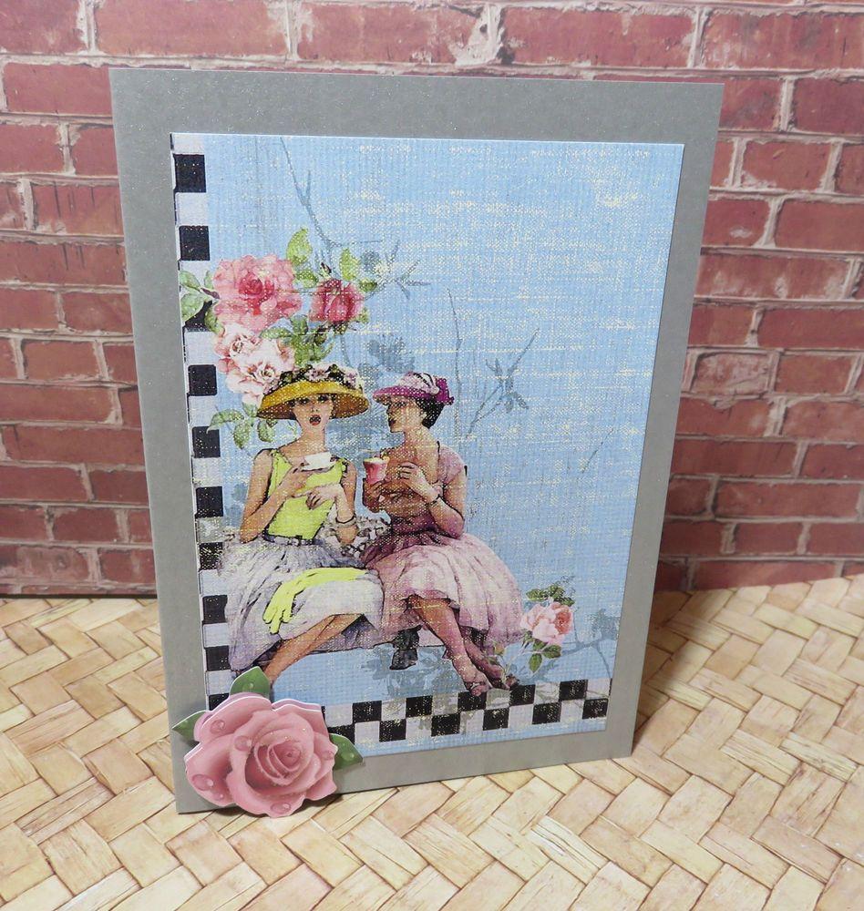 Handmade card birthday gift flower rose girl handmade australian