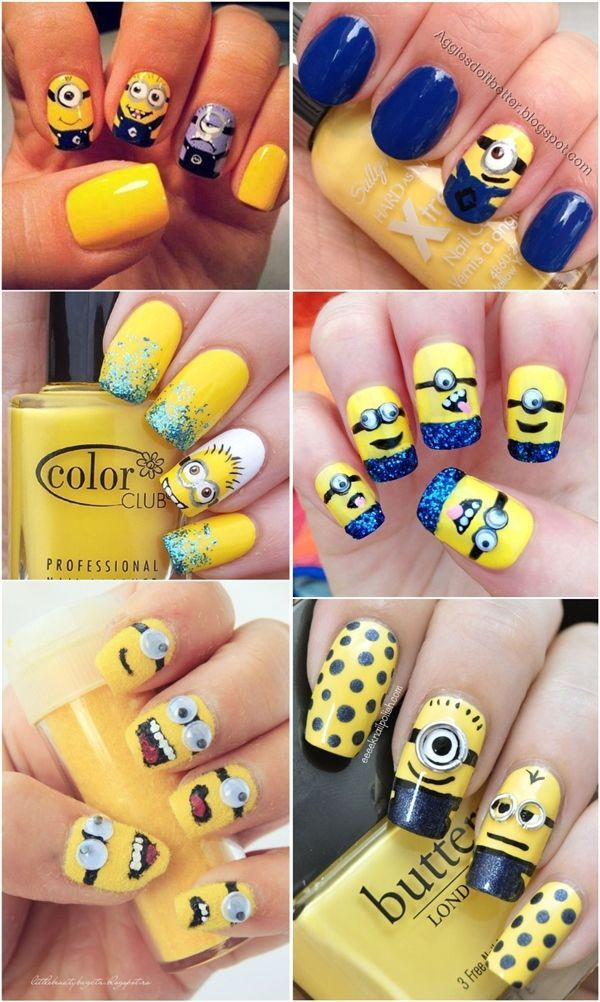 Despicable Me Minions Nail Art Designs - Yellow and Blue Nails ...
