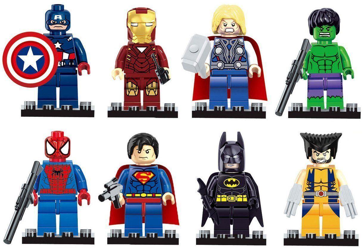 Iron Man, Spiderman, Superman, Batman, Hulk, Wolverine 8 Mini Figures Set
