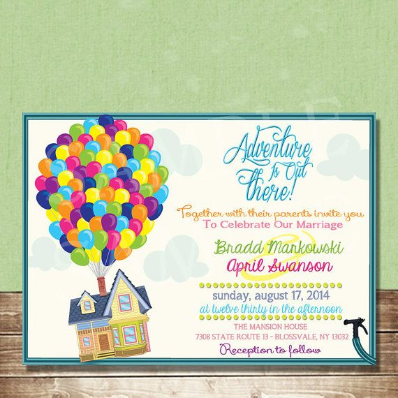up wedding invitation featuring carl and ellie u0026 39 s house