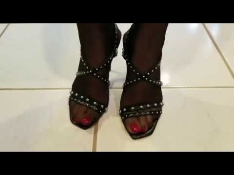 Black stockings and red high heels - YouTube