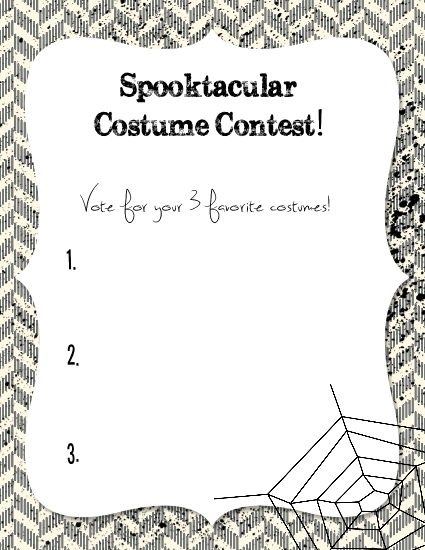 Halloween costume ballots halloween for Voting slips template