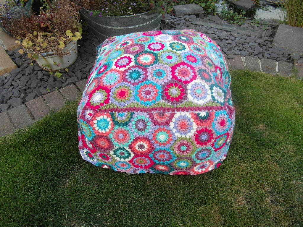 Bean bag covered with crocheted hexagons, made using Stylecraft Special DK in 12 shades x