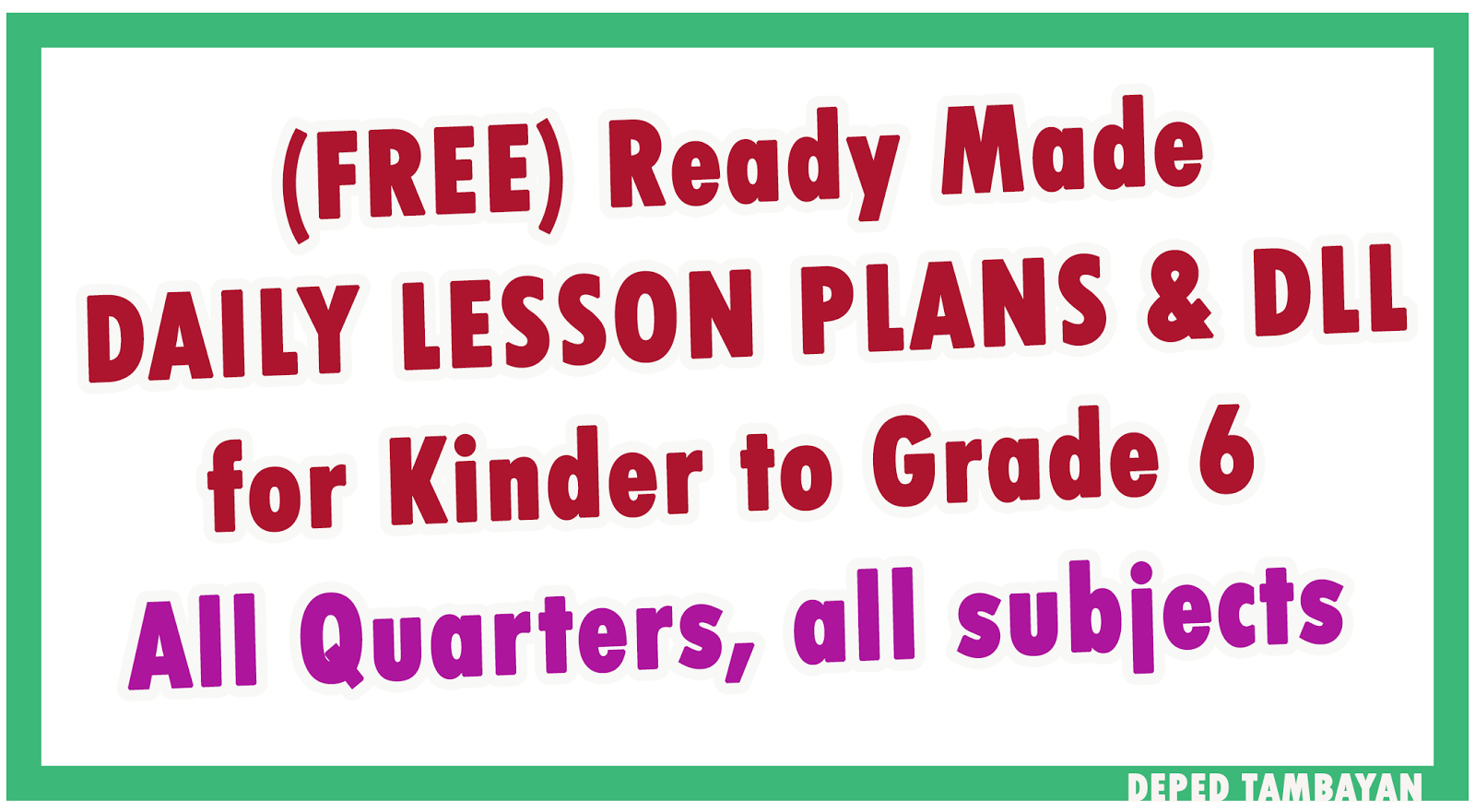Ready Made Lesson Plan Dll