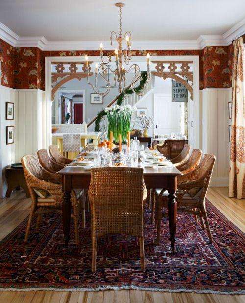 Dining Via Sarah Richardson...Ikea Majby Chairs, Schumacher Shirala Paisley  Drapery, Schumacher Lotus Garden Used To Upholster The Walls. LOVE This Room
