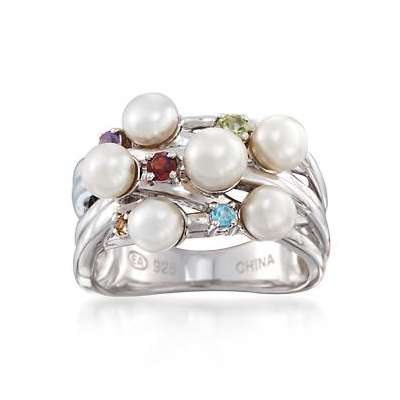 4.5-5mm Cultured Pearl and .20 ct. t.w. Multi-Stone Ring in Sterling Silver - was $195.0, now $49.95 (74% Off). Picked by amyb @ Ross Simons
