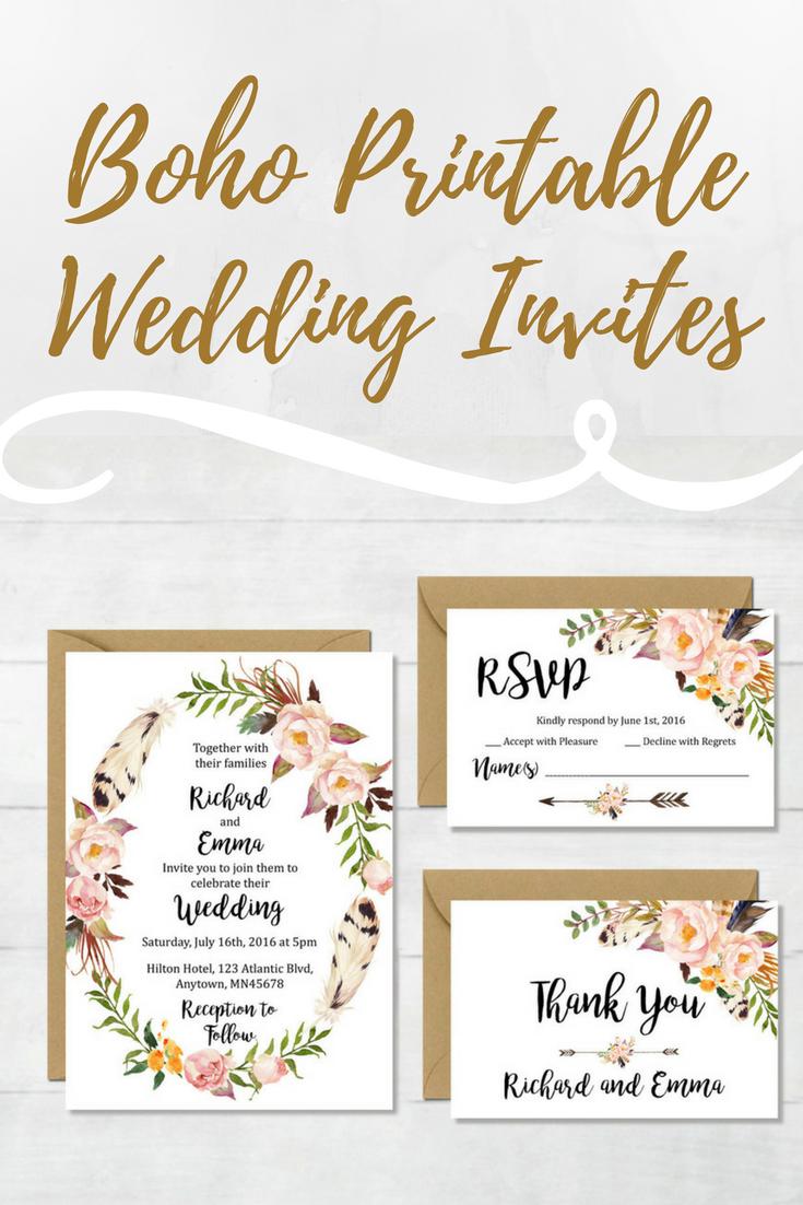 Beautiful floral wreath boho wedding invitation printables