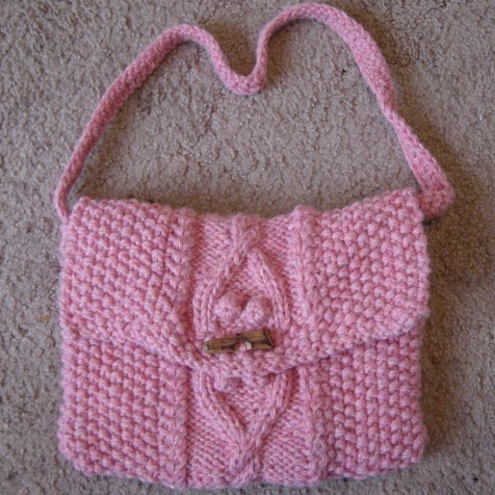 One Day Sale!  Sweetie Aran Cable Twist, Hand Knitted Handbag. £12.00