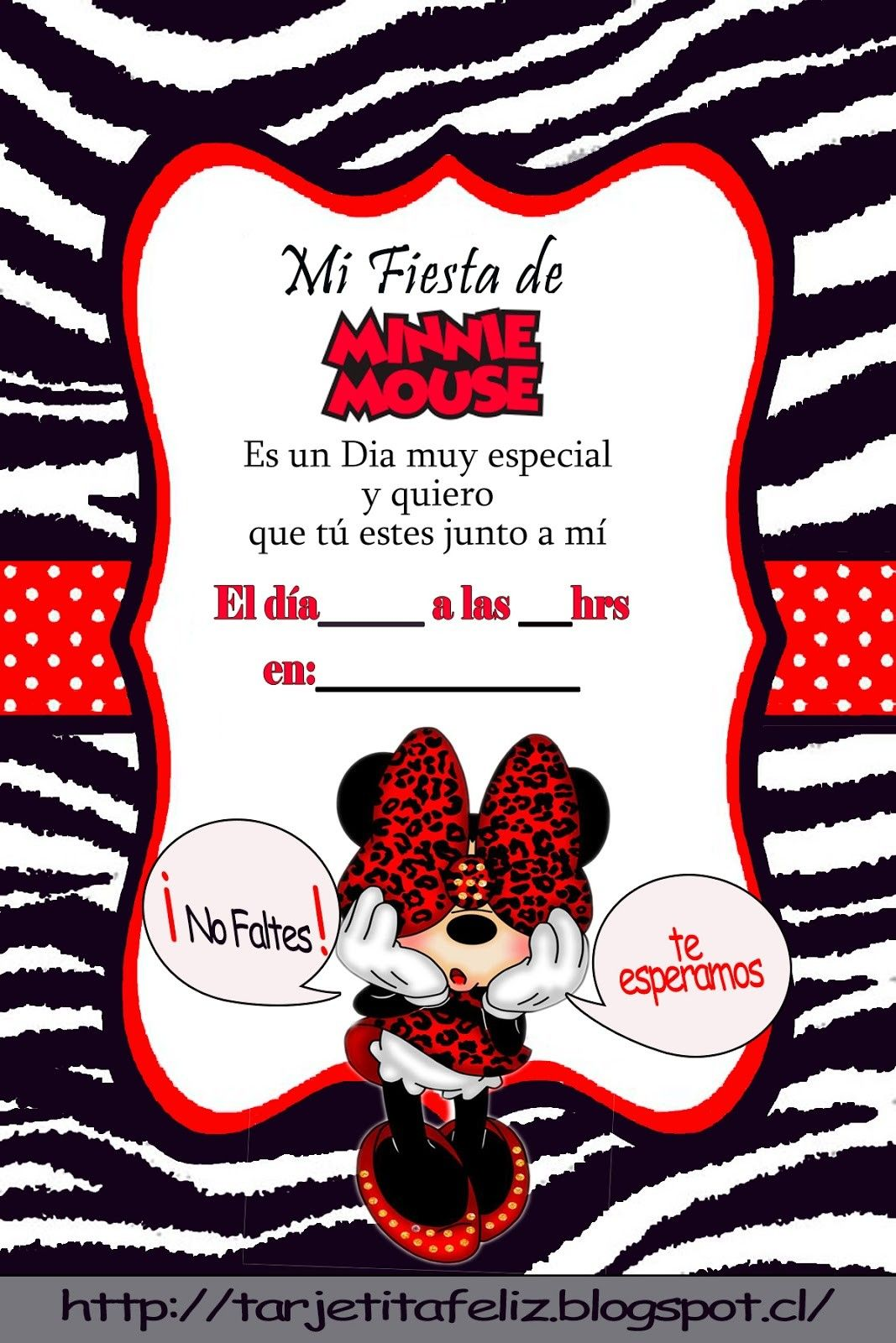 Invitación Fiesta Minnie Invitaciones Minnie Tarjetas De