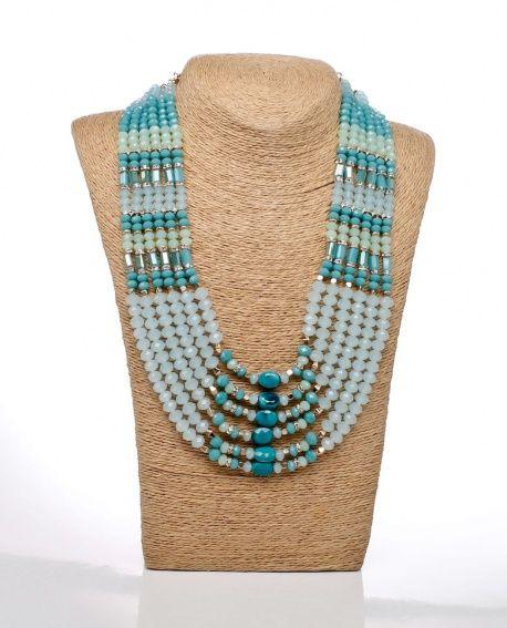 e9c592551b38  Cuello  gargantilla de minerales y cristal con bisutería dorada en colores  azules y turquesa de la casa  Careli.