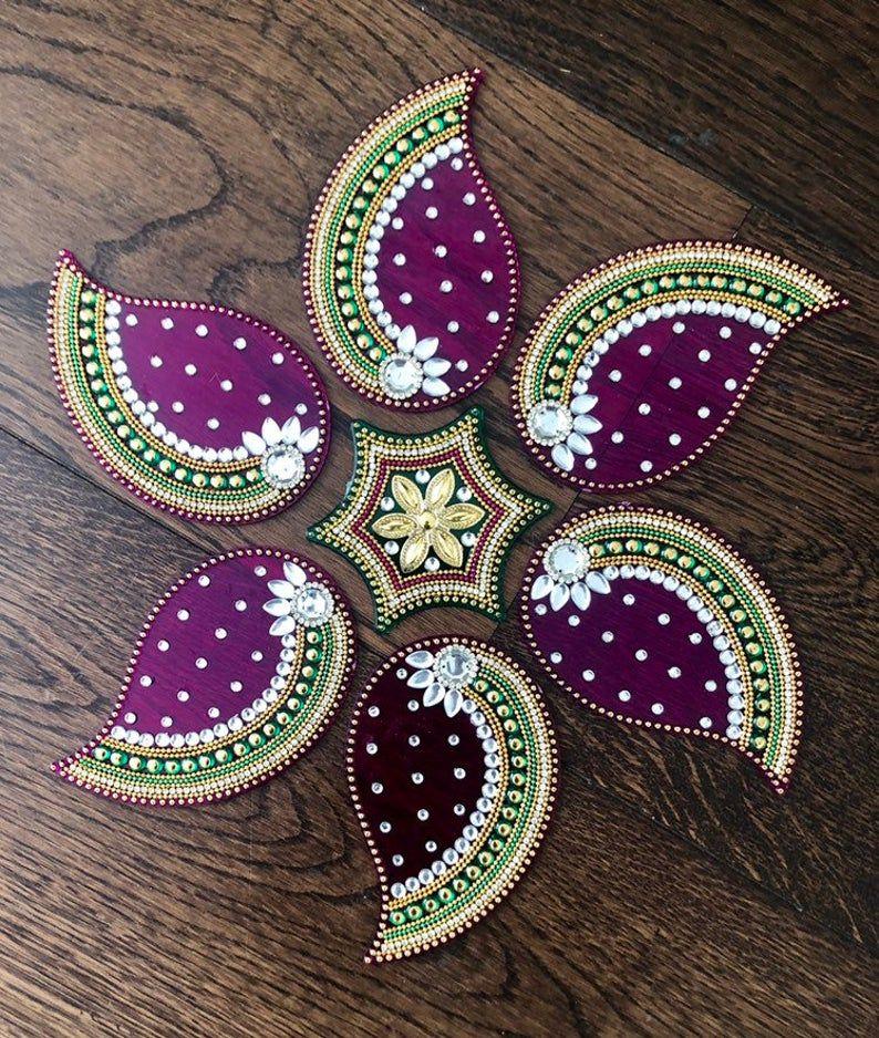 Re-Useable 7 pieces Paisley Kundan Rangoli for Diwali Navratri Durga Laxmi Pooja Alpona Mandola Ready to use Various Colour Combinations