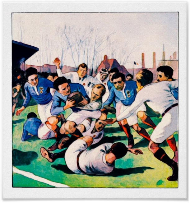 Vintage Rugby Watercolour Print 1921 England Vs France Rugby International Based On An Illustration By A Gallard Reproduced On Archival H Ilustraciones Rugby