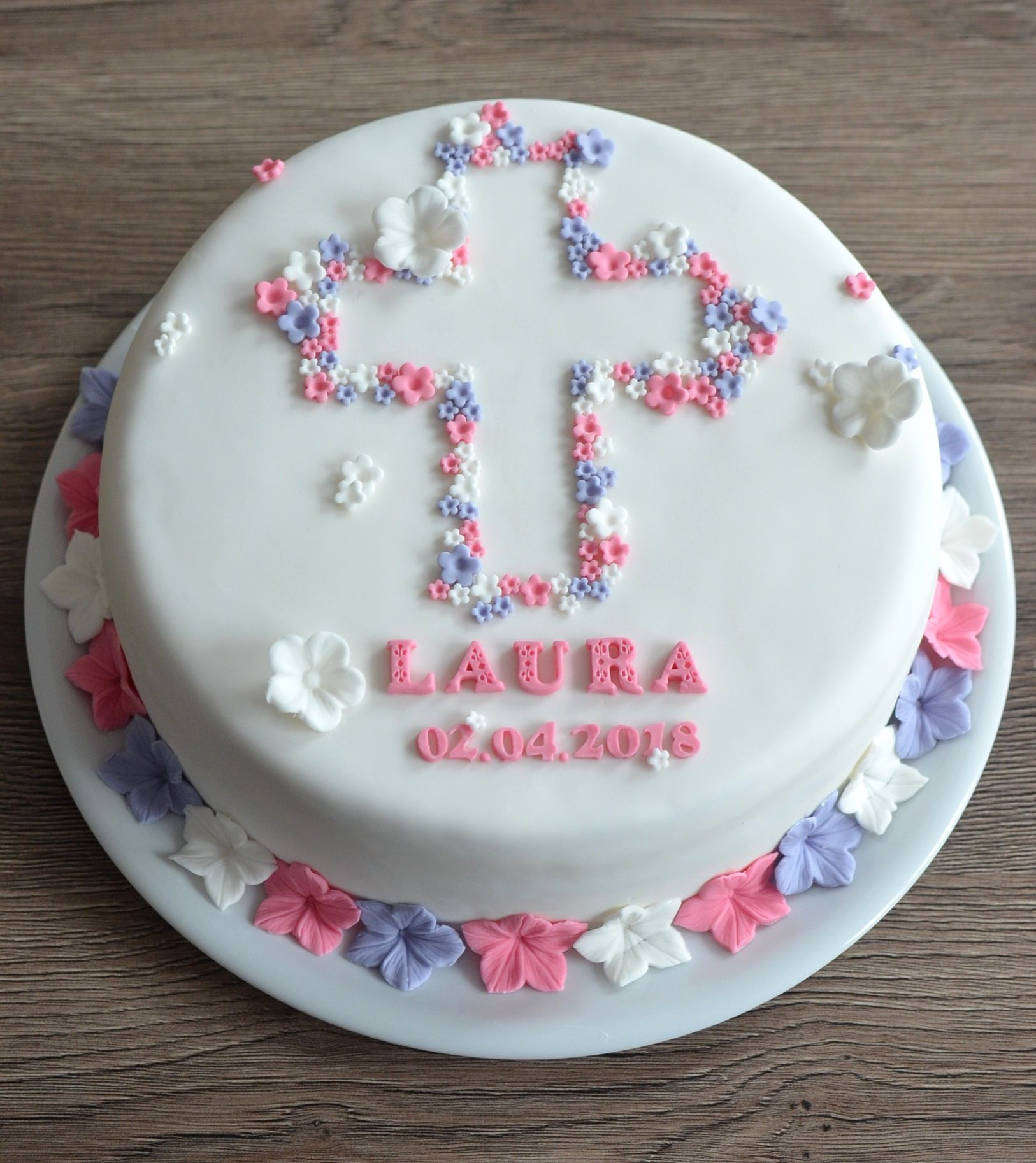 Tauftorte Mädchen mit Blumen, Christening Cake girls #fondant