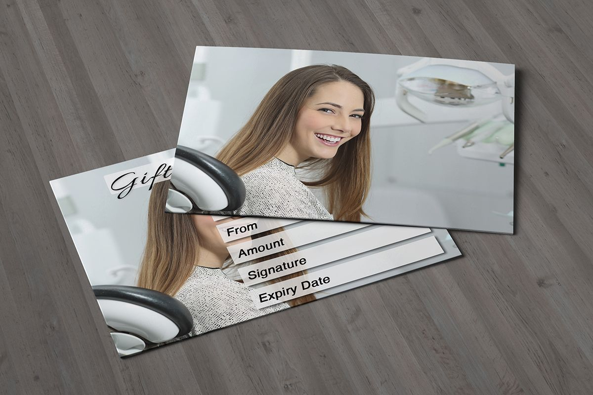 Gift voucher card for dentists tooth whitenings