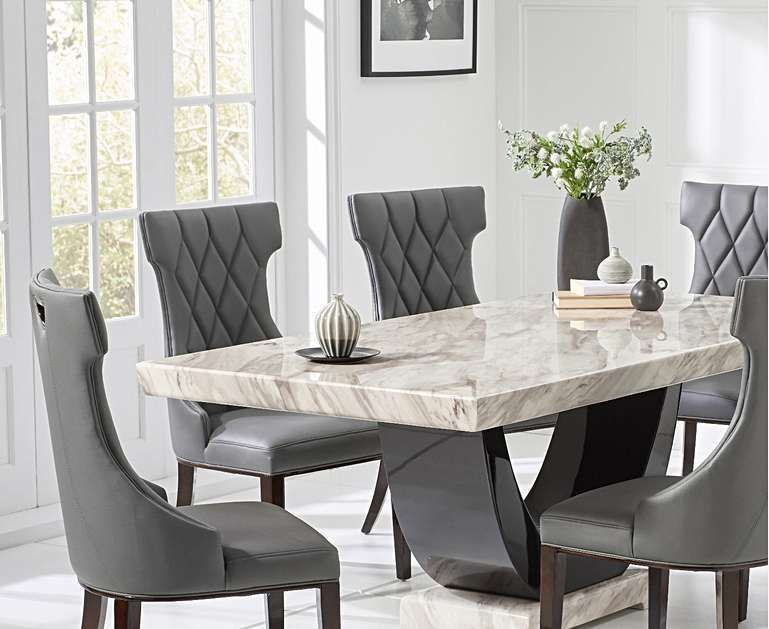 Raphael 170cm Cream And Black Pedestal Marble Dining Table With Freya Chairs Leatherdiningchairs Luxury Dining Tables Dining Table Marble Granite Dining Table