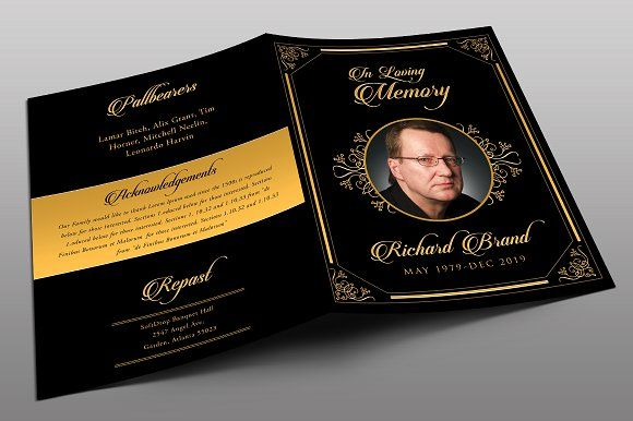 Classic Black \ Gold Funeral Program Funeral and Black gold - funeral brochure template