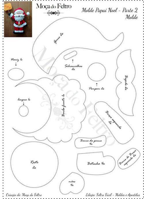 Molde gratis para hacer a papa noel en fieltro02 | XMAS | Pinterest ...