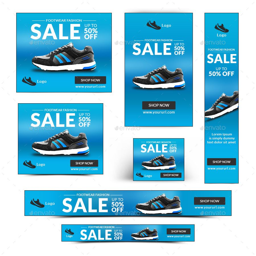 Shoe Sale Banners Bundle - 10 Sets - 166 Banners by doto | GraphicRiver
