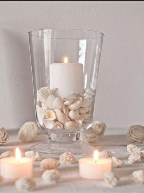 Photo of Verlobung Tischdeko Ideen-weiße Kerzen Muschel – Lampe ideen