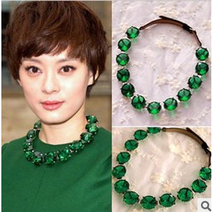 2014 Women Short Clavicle Chain Dark Green Vintage Rhinestone Pendant Fashion Jewelry  Necklaces & Pendants ,Free Shipping-in Chain Necklace...